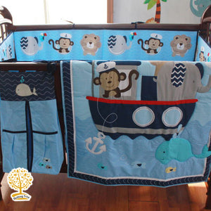 Animal Theme - 100% Cotton Blue Baby Quilt / Babysheet & Pillowcase