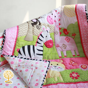 Jungle Theme - 100% Cotton Pink  Super Soft Baby Quilt / Babysheet  & Pillowcase