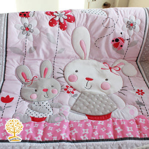 Cartoon Theme - 100% Cotton Pink Baby Quilt / Babysheet & Pillowcase