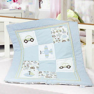 Vehicle Theme - 100% Cotton Light Blue Baby Quilt / Babysheet
