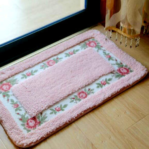 Baby Pink Color Flower  Welcome Doormat