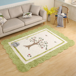 Green Ivory Tree Design Rug
