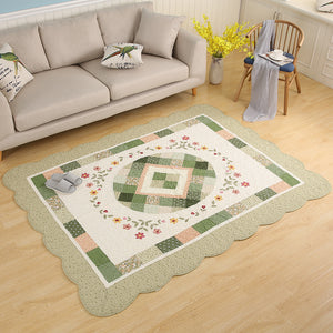 Green and Beige Floral Rug