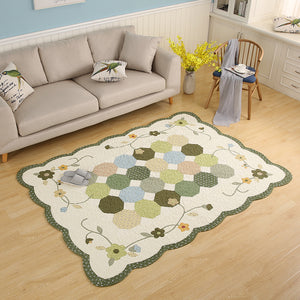 Green Indoor Floral Rug