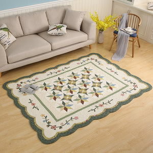 Green White Designer Rug