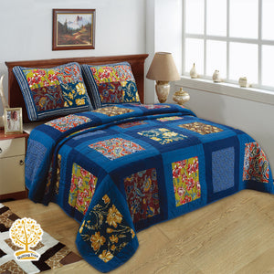 Navy Floral Patchwork Quilted Bedspread/ Blanket With Pillow Cover Set