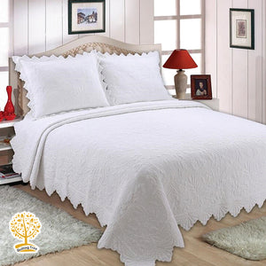 White Triangle Edge Quilted Bedspread/ Blanket With Pillowcase Set