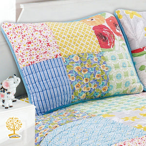 Floral Patchwork Quilted Bedspread/ Blanket With Pillow Cover Set