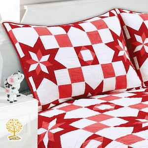 Red Geometric Pattern Quilted Bedspread/ Blanket With Pillowcase Set