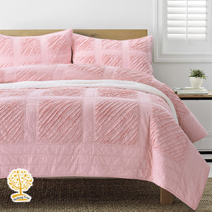 Pastel Pink Patchwork Quilted Bedspread/ Blanket With Pillowcase Set