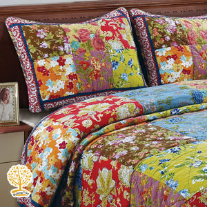 Colorful Floral Patchwork Quilted Bedspread/ Blanket & Pillow Cover Set