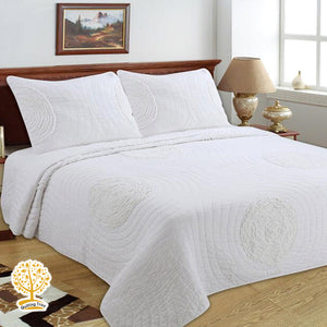 White Quilted Bedspread/ Blanket With Pillowcase Set