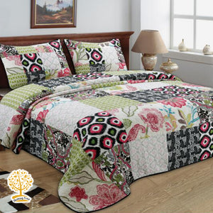 Geometric Patchwork Pattern Quilted Bedspread/ Blanket With Pillowcase Set