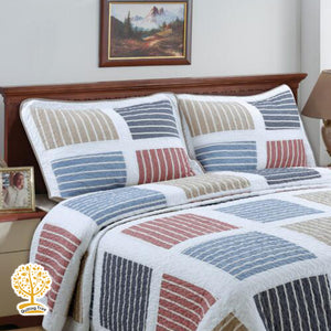 Stripes Patchwork Quilted Bedspread/ Blanket With Pillowcase