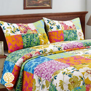 Colorful Floral Patchwork Quilted Bedspread/ Blanket With Pillowcase Set