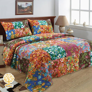 Patchwork Quilted Bedspread/ Blanket With Pillowcase Set