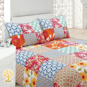 Floral And Abstract Patchwork Quilted Bedspread/ Blanket With Pillow Cover Set