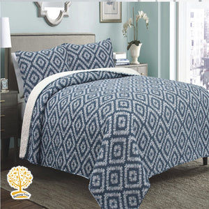 Blue Geometric Pattern Quilted Bedspread/ Blanket With Pillowcase Set