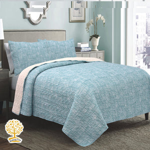 Sky Blue Textured Quilted Bedspread/ Blanket With Pillowcase Set