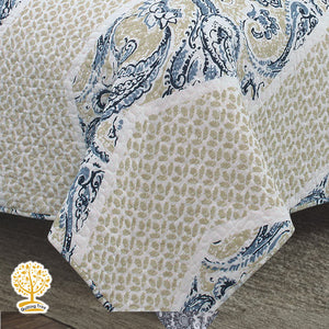 Blue and Cream Quilted Bedspread/ Blanket With Pillowcase Set