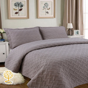 Taupe Embroidery Quilted Bedspread With Pillow Cover Set