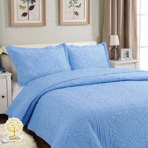 Blue Embroidery Quilted Bedspread/ Blanket & Pillowcases