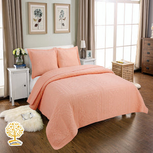 Peach Embroidery Quilted Bedspread With Pillowcase Set