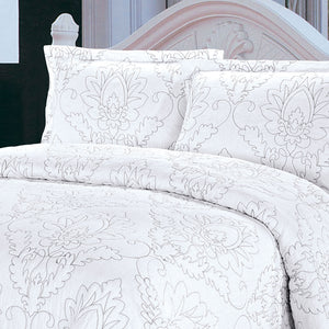 Quilting Tree White & Brown Embroidery Quilted Bedspread/ Blanket with Pillowcases 100% Cotton - 3 Piece Quilt