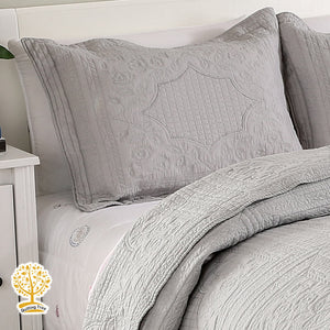 Grey Embroidery Quilted Bedspread/ Blanket With Pillowcases