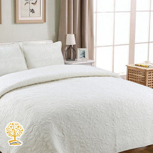 Off White Embroidery Quilted Bedspread/ Blanket & Pillowcase Set