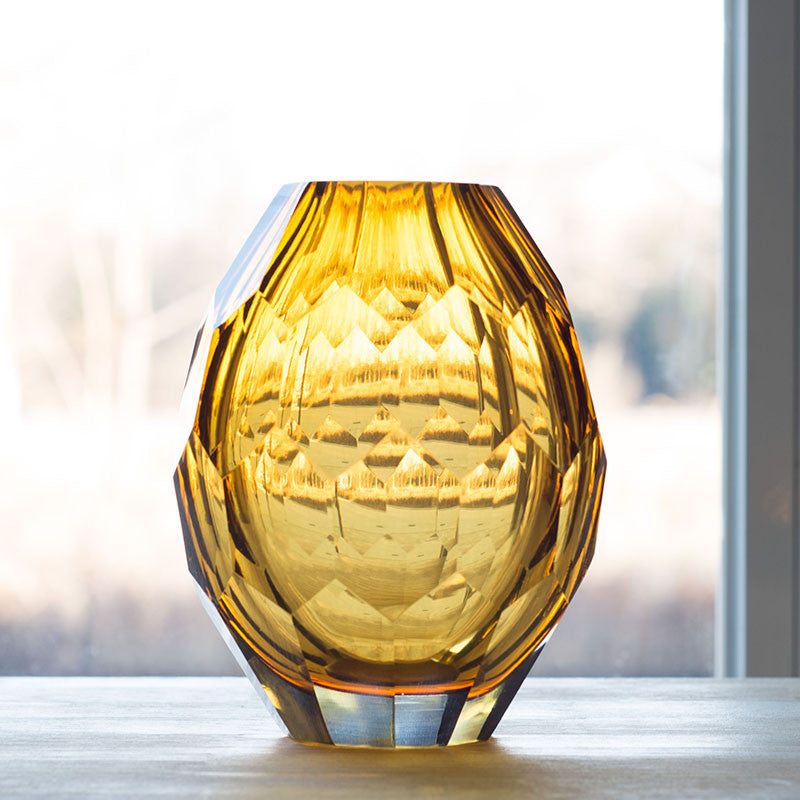 Yellow Glass Vase For Decoration Handmade And Mouth Blown All
