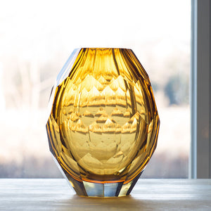 Yellow Glass Vase For Decoration (Handmade and Mouth Blown)