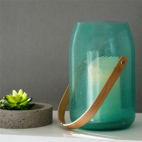 Green Hanging Blown Glass Vase (New Design With Candle)