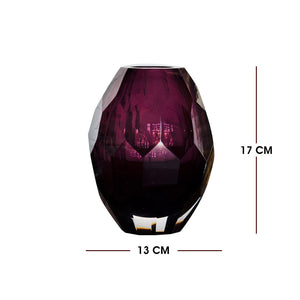 Violet Glass Vase For Decoration (Handmade and Mouth Blown)