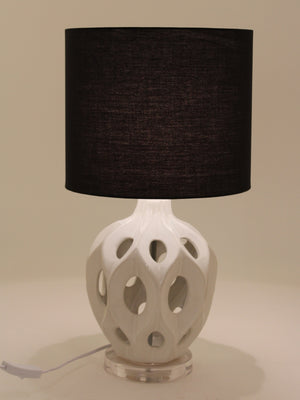 Ceramic White Table Lamp with Cut Out