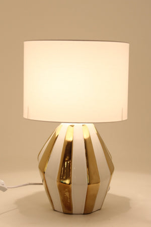 White Gold Stripped Ceramic Table Lamp