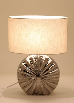 Fluted Circular Silver Table Lamp
