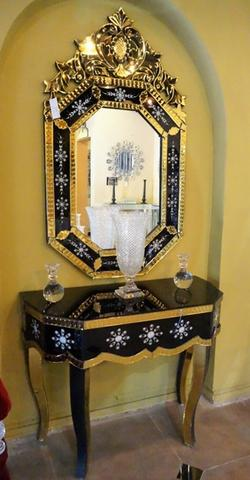 OCTAGONAL MIRROR WITH MIRRORED CONSOLE CWM-370B