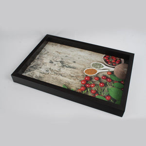 Dark Brown Spices and Chillies Themed Serving Tray