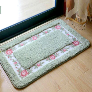 Flower green color welcome doormat