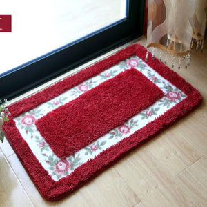 Flower red color welcome doormat