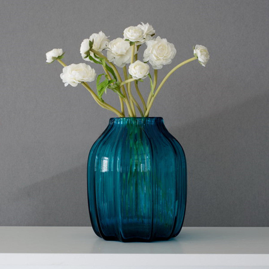 Hot sell casamotion blue short glass vase for flower decoration hot sell casamotion blue short glass vase for flower decoration all home living llp reviewsmspy