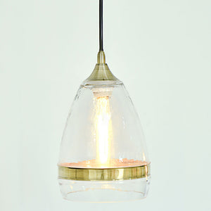 Hot Selling Casamotion Clear Mouth Blown Glass Pendant Lamps With Brass Ring For Home Decor