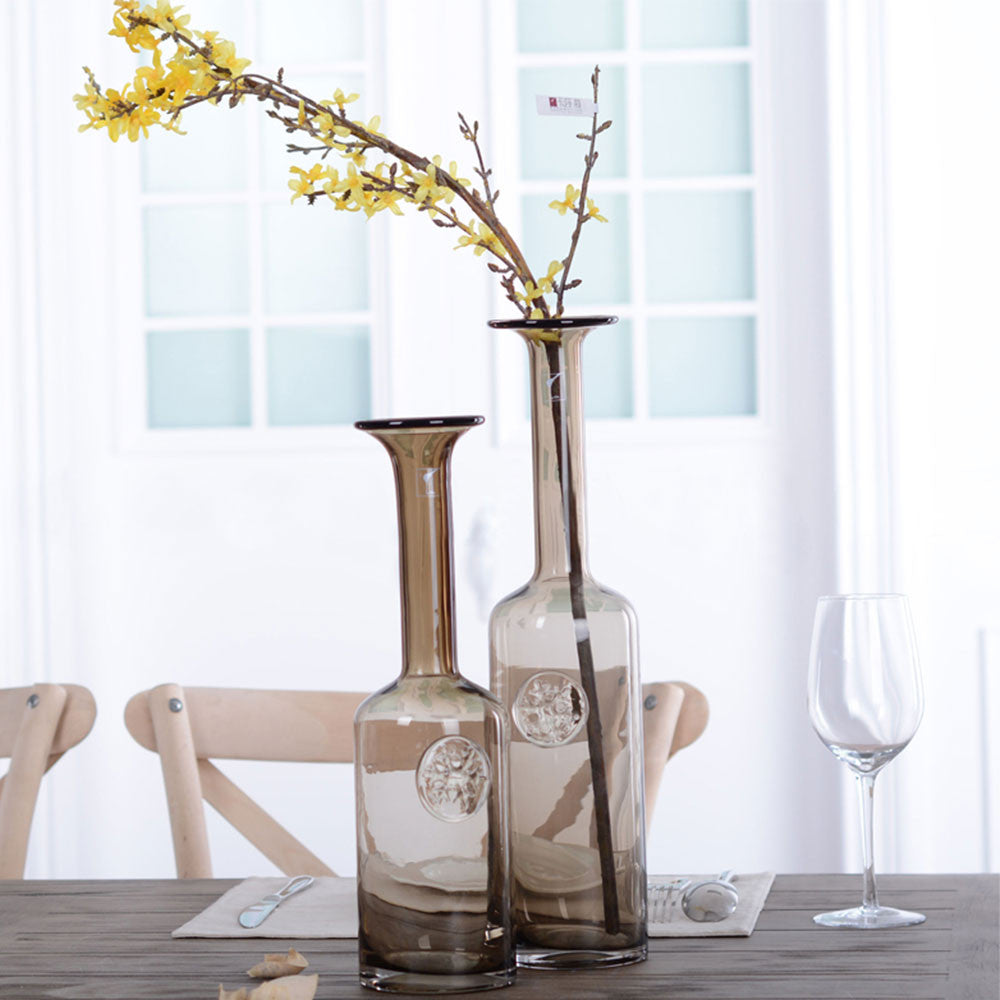 Casamotion Flake Mouth Light Brown Wedding Vases With Long Slim Neck ...
