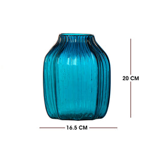 Short Blue Glass Vase (Hot Sell for Decoration)