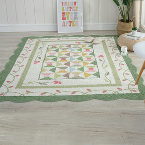 Green and Beige Geometric rug