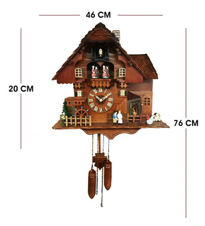Vintage Style Farm House with Dancing Couple Forest Cuckoo Clock