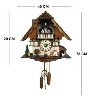 Rustic Swiss Home with Couple Figure Cuckoo Clock