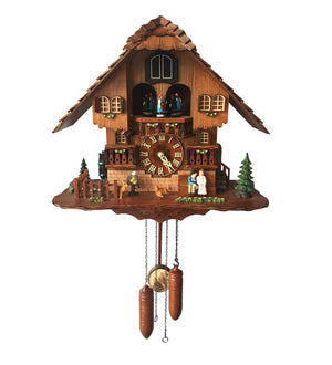 Beautiful Swiss Home with Deer and Squirrel Animated Figure Cuckoo Clock