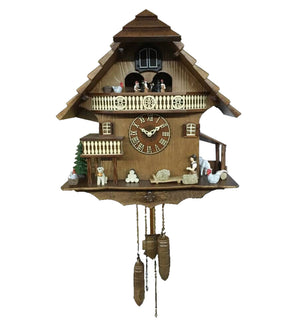 Vintage Swiss Farm House with Animated Figures Cuckoo Clock